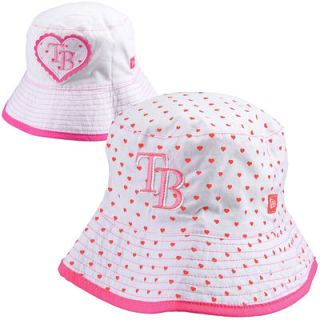 New Era Tampa Bay Rays Toddler Girls Switch Up Hearts Reversible Bucket Hat   White/Pink