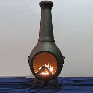 The Blue Rooster Aluminum Wood Prairie Chiminea; Charcoal