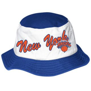adidas New York Knicks Wordmark Bucket Hat   White/Royal Blue