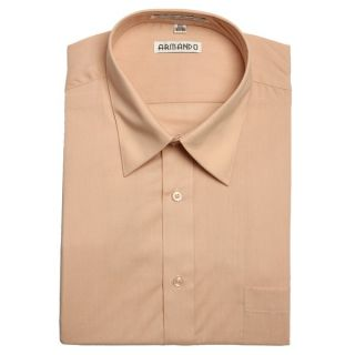 Armando Mens Peach Convertible Cuff Dress Shirt