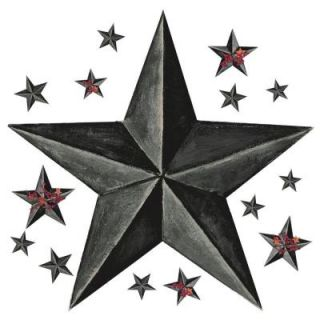18 in. x 40 in. Barn Star 18 Piece Peel and Stick Giant Wal Decal   Slate RMK2198GM