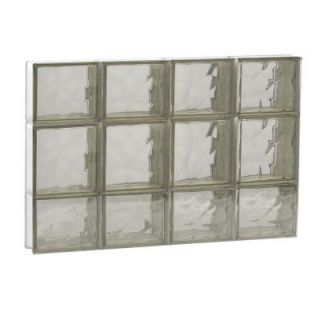 Clearly Secure 31 in. x 19.25 in. x 3.125 in. Non Vented Bronze Wave Pattern Glass Block Window 3220SBZ