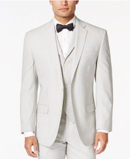 Sean John Mens White and Black Pinstriped Classic Fit Jacket   Suits