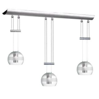 Radionic Hi Tech Industrial Chic 3 Light Satin Chrome Adjustable Height Pendant with Oval Clear Frosted Glass DLSL833 SC CF