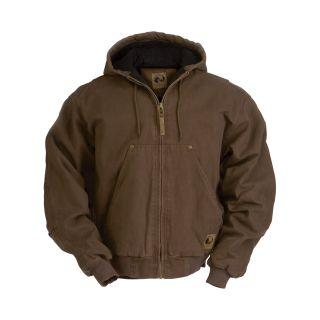 Berne Original Washed Hooded Jacket — Quilt Lined, Bark, Medium, Model# HJ375  Coats