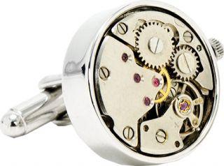 Mens Penny Black Fourty Steampunk Watch Movement Cufflinks   Silver