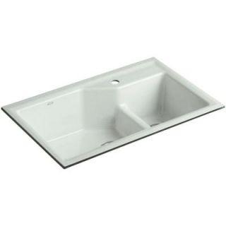 KOHLER Indio Smart Divide Undermount Cast Iron 33 in. 1 Hole Double Bowl Kitchen Sink in Sea Salt K 6411 1 FF