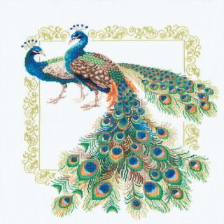 Peacocks Counted Cross Stitch Kit 18.875X18.875 14 Count   16427027