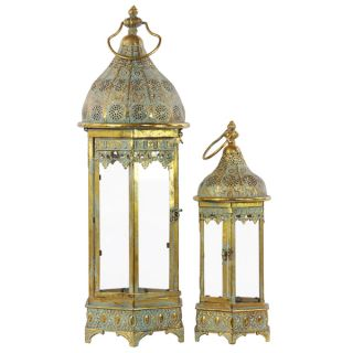 Pierced Gold Metal Lantern with Ring Hanger, Glass Sides and Hexagonal