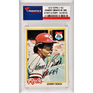 Johnny Bench Cincinnati Reds  Authentic Autographed 1978 Topps #700 Card with HOF 89 Inscription