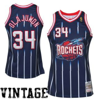Mitchell & Ness Hakeem Olajuwon Houston Rockets 1996 97 Hardwood Classics Throwback Authentic Home Jersey   Navy Blue