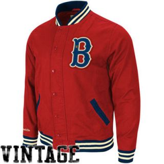 Mitchell & Ness Boston Red Sox Red Vintage Full Button Twill Jacket
