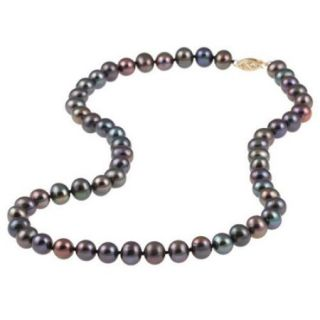 DaVonna 14k 8 9mm Black Freshwater Cultured Pearl Strand Necklace (16 36 inches) 16 inch