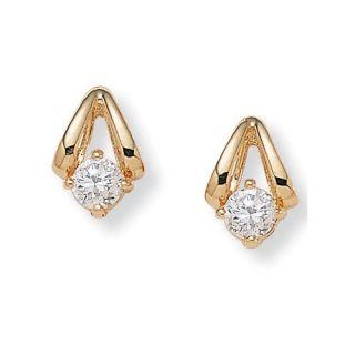 Palm Beach Jewelry Round Cubic Zirconia Pierced Earrings