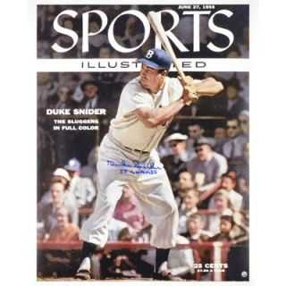 Duke Snider Brooklyn Dodgers  Authentic Autographed 16 x 20 Sports Illustrated Cover Photograph with 1955 WS Champs Inscription