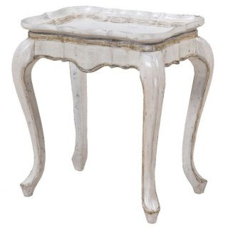 Gails Accents 22 112ET Toulone Tray Look Side Table in Antique White
