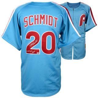 Mike Schmidt Philadelphia Phillies  Authentic Autographed Mitchell & Ness Authentic Light Blue 1980 Jersey with 80 NL/MVP Inscription