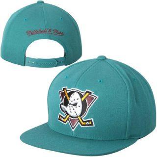 Anaheim Ducks Mitchell & Ness Wool Solid Snapback Adjustable Hat   Teal