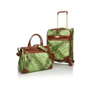 """Samantha Brown Basket Weave 21"""" Upright and Dowel Bag Set   7860571"""