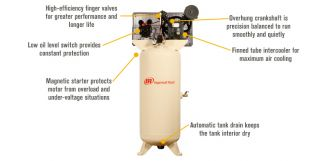 Ingersoll Rand Type-30 Reciprocating Air Compressor (Fully Packaged) — 7.5 HP, 230 Volt 1 Phase, Model# 2475N7.5-P  80   100 Gallon, 7.5 HP Vertical Air Compressors