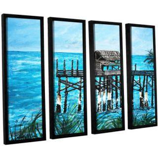 """ArtWall Derek Mccrea """"Pier"""" 4 Piece Floater framed Canvas Set"""