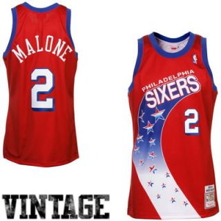 Mitchell & Ness Moses Malone Philadelphia 76ers 1993 94 Hardwood Classics Throwback Authentic Home Jersey   Red