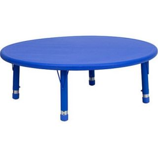 """Adjustable Height Round Plastic Activity Table 45"""", Blue"""
