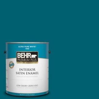 BEHR Premium Plus 1 gal. #S H 520 Peacock Tail Zero VOC Satin Enamel Interior Paint 730001