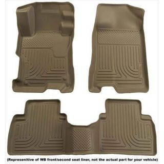 Husky Liners   Husky Liners WeatherBeater Floor Liners, Front and Rear (Tan) 98583   Fits 2010 to 2011 Toyota Tundra Crew Cab and Extended Crew Cab