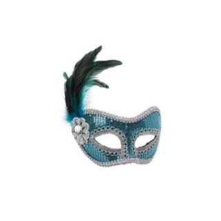 Turquoise Feather and Sequin Mask