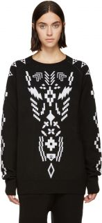 Marcelo Burlon County of Milan: Black & White Copahue Sweater