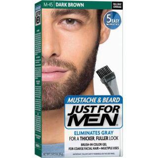 Just for Men Mustache, Beard and Sideburns Brush In Color Gel, Dark Brown