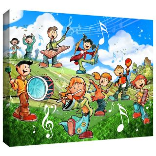 Luis Peres Music Kids Floater framed Gallery wrapped Canvas