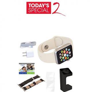 Apple 42mm Retina Display Sports Watch with Leather Band, Charger Stand, Screen Protectors and Workout/Music Subscriptions   8137510