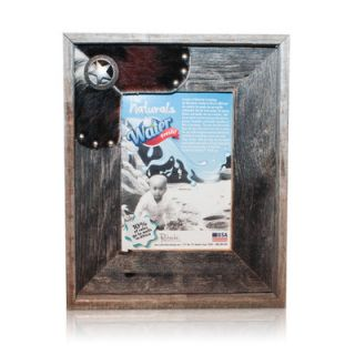 Natural Cowhide Reclaimed Fancy Sheriff Old Silver Star Picture Frame