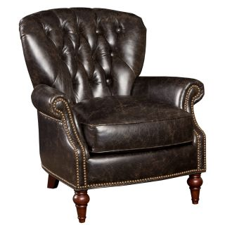 Hooker Furniture CC718 01 088 Pullman Coach Leather Club Chair in Dark Wood