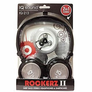 Supersonic IQ 213 Rockerz 2 In 1 Deep Bass Stereo Earbud/Headphone Combo, Silver