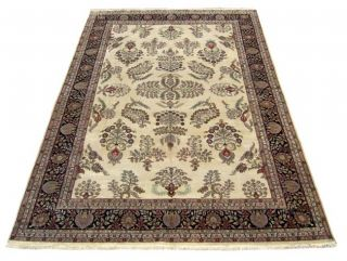 Indian Sarough Hand knotted Ivory/ Black Rug (10 x 146)   11233581