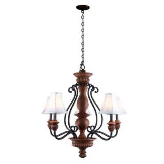 World Imports Elysia Collection 5 Light Antiqued Gold Chandelier with Elegant White Fabric Shades 9775 90