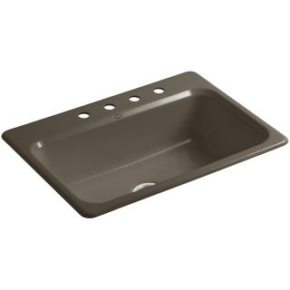 Kohler K 5832 4 Bakersfield Cast Iron 31 Self Rimming Rectangular Kitchen Sink with 4 Hole 8 Widespread Faucet Drilling