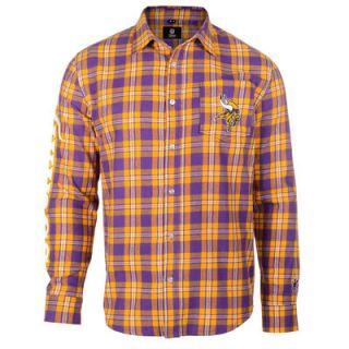 Minnesota Vikings Klew Wordmark Flannel Button Up Long Sleeve T Shirt   Purple/Gold