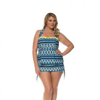 "Jessica Simpson ""To Dye For"" Bandeau Tankini Top   Plus   8029351"