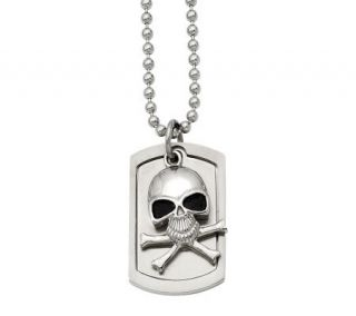 Forza Mens Stainless Steel Skull Dog Tag Pendant w/ 24 Chai —