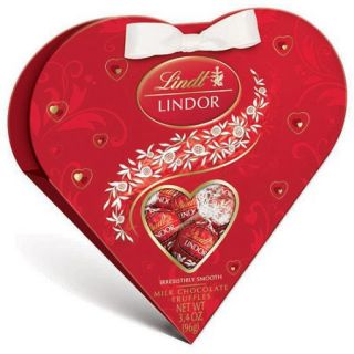 Lindt Lindor Valentine's Red Heart Milk Chocolate Truffles, 3.4 oz
