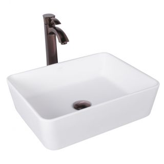 Sirena Matte Stone Vessel Bathroom Sink and Otis Vessel Faucet with by