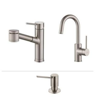 KRAUS Oletto Single Handle Pull Out Kitchen Faucet and Bar Faucet with Soap Dispenser in Stainless Steel KPF 2610 2600 41SS