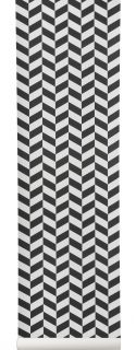 Angle Wallpaper   1 roll   W 53 cm Black patterns / White by Ferm Living