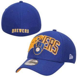 Milwaukee Brewers New Era Navy Diamond Era 39THIRTY Wordmark Flex Hat