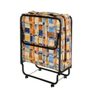 InnerSpace Luxury Products InnerSpace Torino Twin Folding Roll Away Bed in Blue and Orange Geometric Design FB Standard