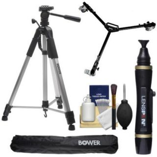 """Bower VTSL7200 72"""" Digital Photo/Video Camera Tripod Steady Lift Series with Case with W3 Universal Dolly + Lenspen + Accessory Kit"""